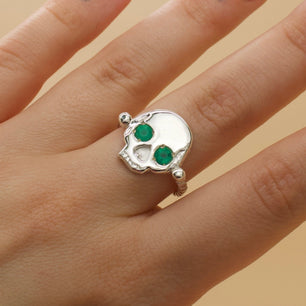 'Morte' Skull & Roman Bead Band Ring with Green Agate Eyes (Brass, Silver or Rose, Yellow or White Gold)