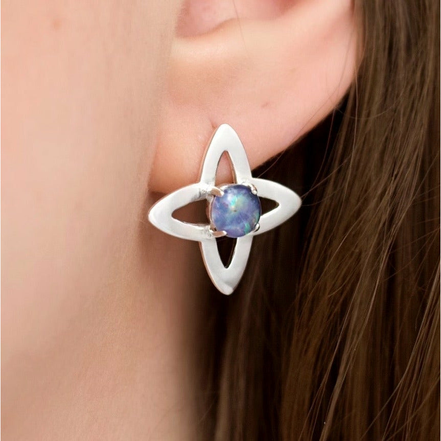 Medieval Star Earrings - Opal (Silver or Rose/Yellow Gold Vermeil)