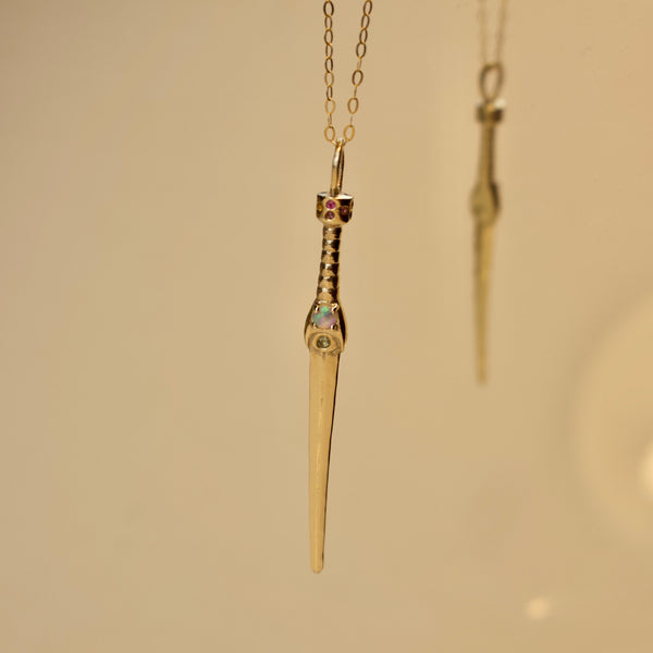 Rainbow Imperial Dagger Necklace  - Gold with Opal with Multi Colour Gemstone Handle - Necklace The Serpents Club