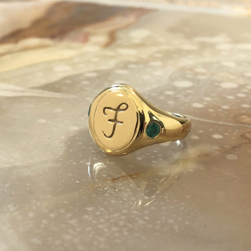 Web Exclusive ✦ Script Engraved Signet (Custom Letter and Birthstone Band) - Ring The Serpents Club