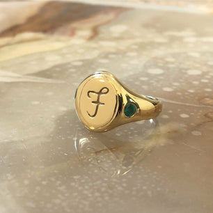 Script Engraved Signet (Custom Letter and Birthstone Band) - Ring The Serpents Club