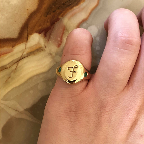 Script Engraved Signet (Custom Lettering and Birthstone Band) - Ring The Serpents Club