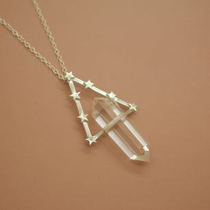 'Ophelia' Quartz and Geometric Star Orbit Necklace (Brass, Silver, Yellow/Rose/White Vermeil or Solid Gold -  The Serpents Club