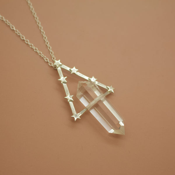 'Ophelia' Quartz and Geometric Star Orbit Necklace (Brass, Silver, Yellow/Rose/White Vermeil or Solid Gold