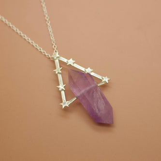 'Ophelia' Amethyst and Geometric Star Orbit Necklace (Brass, Silver, Yellow/Rose/White Vermeil or Solid Gold -  The Serpents Club