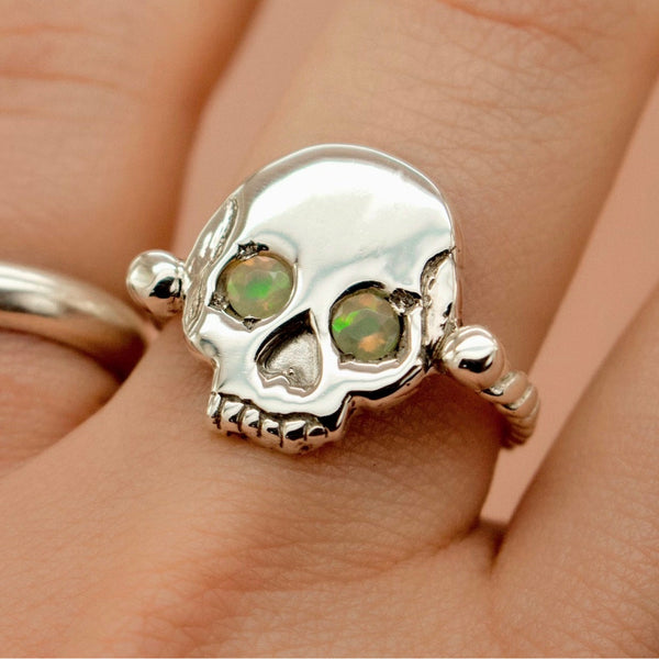 'Morte' Skull & Roman Bead Band Ring with Opal Eyes (Brass, Silver or Rose, Yellow or White Gold) - Ring The Serpents Club