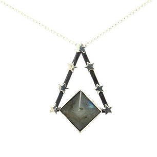 Labradorite Pyramid & Star Pendulum Necklace - One Of A Kind - Necklace The Serpents Club