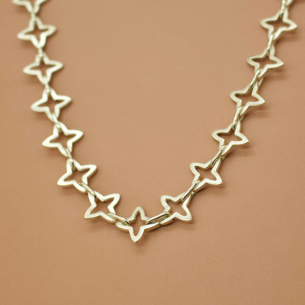 "READY TO SHIP - Medieval Star Link Choker Chain - Silver (Choker 14"") - Necklace The Serpents Club"