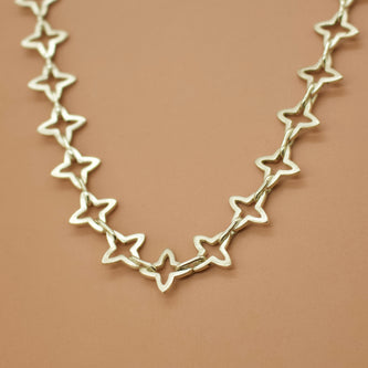 Medieval Star Link Choker Chain - Custom Lengths - Silver, Yellow or Rose Gold Vermeil - Necklace The Serpents Club