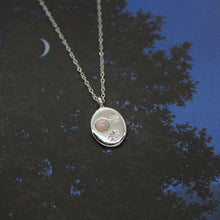 Load image into Gallery viewer, 'Nyx' Opal Moon and Engraved Stars Coin Necklace (Silver or Yellow/White/Rose Gold Vermeil or Solid Gold) - Necklace The Serpents Club