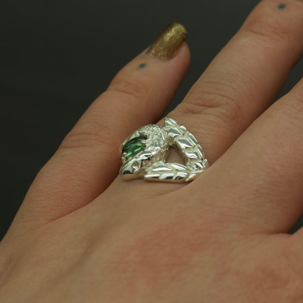 'Talbot' Green Tourmaline, Palm Leaf and Diamond Eye Snake Ring (Silver or Yellow, Rose, White Gold) - Ring The Serpents Club