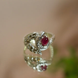 'Talbot' Pink Tourmaline, Palm Leaf and Diamond Eye Snake Ring (Silver or Yellow, Rose, White Gold) - Ring The Serpents Club