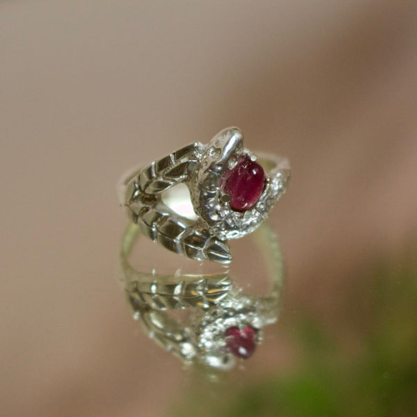 'Talbot' Pink Tourmaline, Palm Leaf and Diamond Eye Snake Ring (Silver or Yellow, Rose, White Gold)