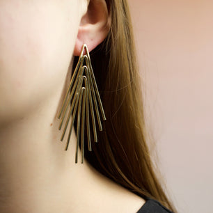 'Serena' Light Beam Tassel Earrings (Brass, Silver, Yellow/Rose/White Gold Vermeil or Solid Gold) - Earrings The Serpents Club