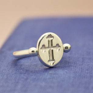 Medieval Cross Engraved Roman Ring (Brass, Silver, Yellow, White or Rose Gold) - Ring The Serpents Club