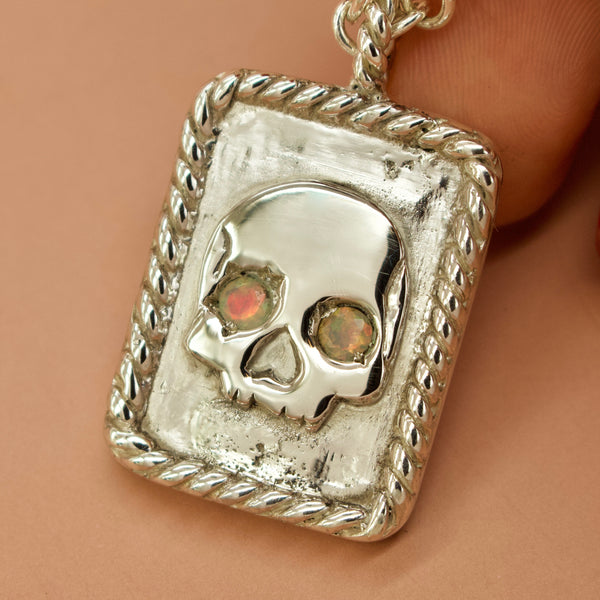 One Of A Kind ✦ Eternal Sleep II Skull with Opal Eyes Necklace (Silver) - Necklace The Serpents Club