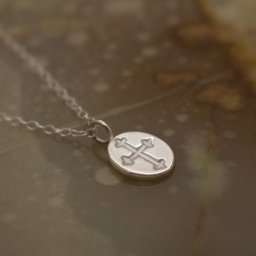 Medieval Cross Engraved Coin Necklace (Silver, Yellow/Rose/White Gold Vermeil or Solid Gold) - Necklace The Serpents Club