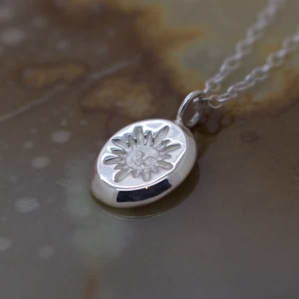 Sol Necklace - Sun Face Engraved Coin - Silver or 9ct Gold - Necklace The Serpents Club
