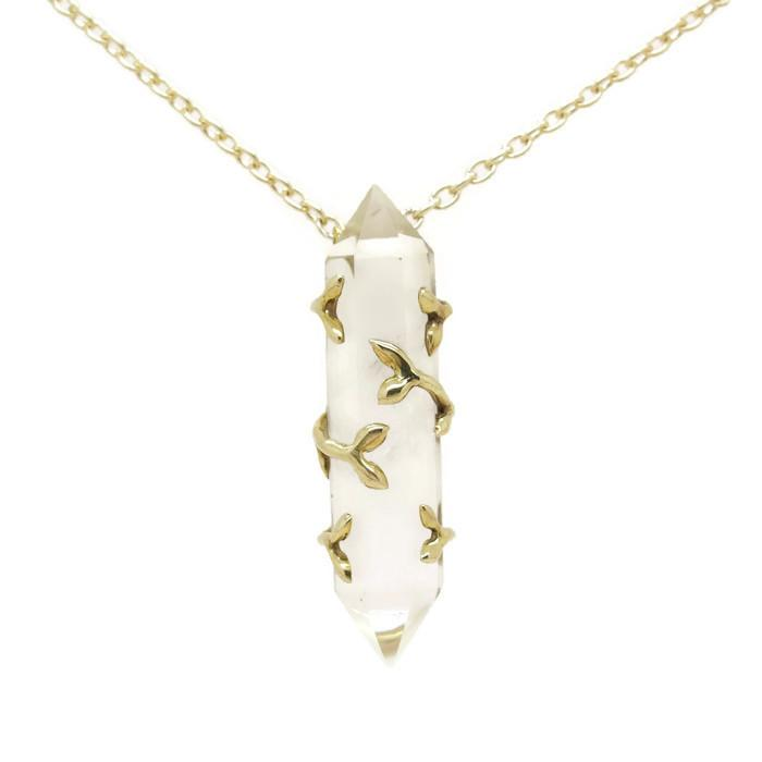 READY TO SHIP - 'Laurel' Statement Quartz Leaf Set Necklace - Brass - Necklace The Serpents Club