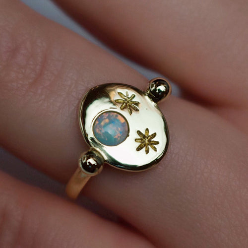 'Nyx' Opal Moon and Star Engraved Roman Signet Ring (Silver, Yellow, White or Rose Gold) - Ring The Serpents Club