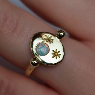 'Nyx' Opal Moon and Star Engraved Roman Signet Ring (Silver, Yellow, White or Rose Gold)
