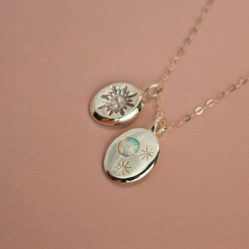 'Rocket Man' Talisman - Sun Coin and Nyx Opal Moon and Stars Charm Necklace (Silver or Yellow, White, Rose Gold Vermeil or Solid Gold) - Necklace The Serpents Club