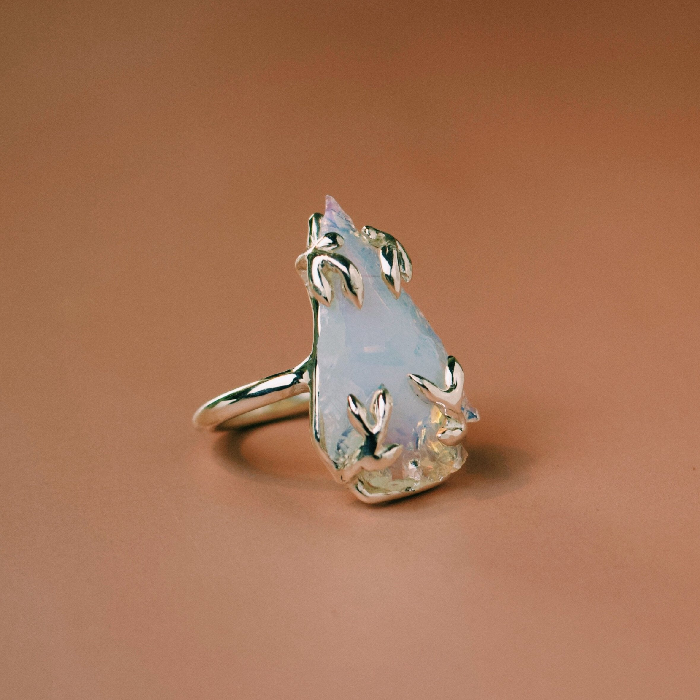 'Sorrel' Opalite Arrowhead Ring (Brass, Silver or Yellow, White, Rose Gold) - Ring The Serpents Club