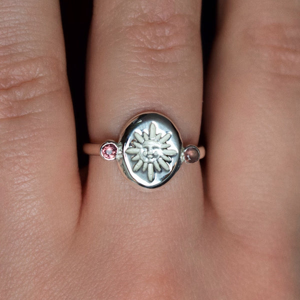 Ready To Ship ✦ Imperial 'Sol' Sun Face and Garnet Roman Ring (Silver US 7 - UK 	N 1/2)