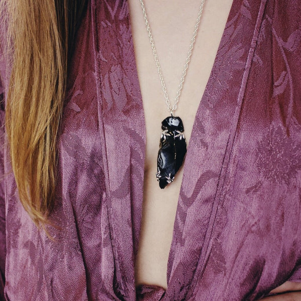 Ready To Ship ✦  'Alder' Black Obsidian Arrowhead with Rope Necklace (Silver) - Necklace The Serpents Club