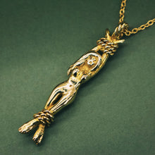 将图片加载到图库查看器,'Lady Of Ashes' Nude Skull Faced Woman Necklace (Brass, Silver, Rose/ Yellow Vermeil or Gold) - Necklace The Serpents Club
