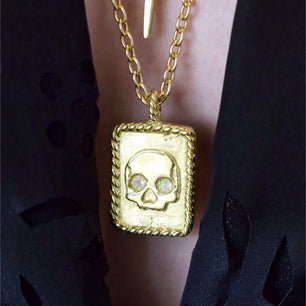 One Of A Kind ✦ Eternal Sleep II Necklace - Brass with Opal Eyed Skull -  The Serpents Club