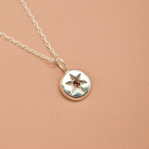 Ready to ship - Garnet 'Nox' 6 Point Star Engraved Coin Necklace (Silver) - Necklace The Serpents Club