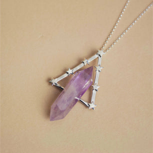 Ophelia Necklace in Silver and Amethyst -  The Serpents Club