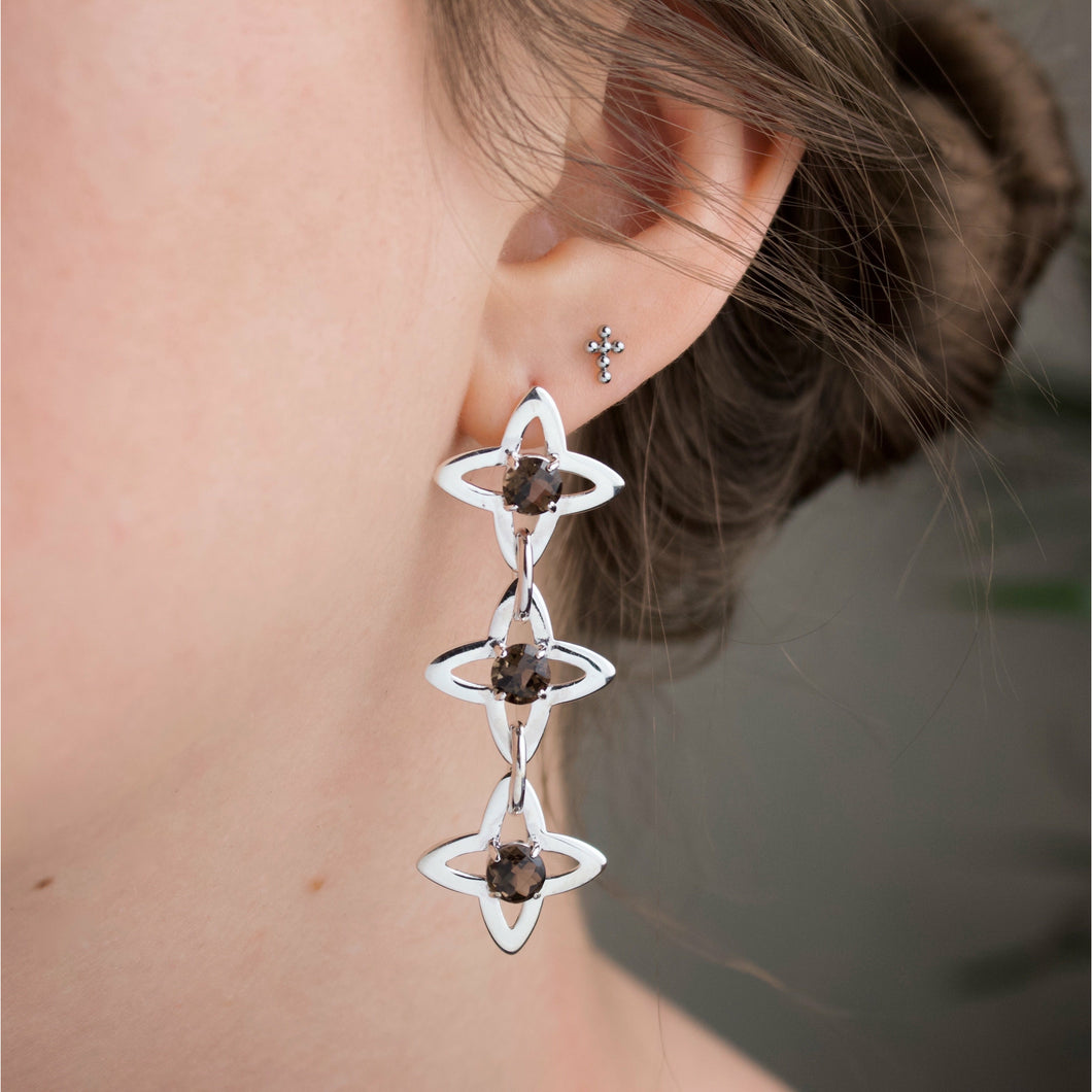 Star Chain Earrings - Smoke Quartz (Silver or Rose/Yellow Gold Vermeil)