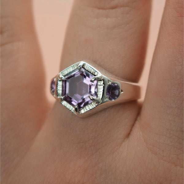 Ready To Ship ✦ Imperial Hexagon Signet Ring - Amethyst & Silver (Size US 7	 - UK N1/2) - Ring The Serpents Club