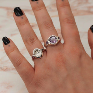 Ready To Ship ✦ Imperial 'Sol' Sun Face and Garnet Roman Ring (Silver US 7 - UK 	N 1/2) - Ring The Serpents Club