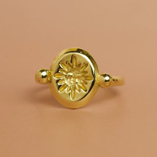 'Sol' Sun Face Engraved Roman Ring (Brass, Silver, Yellow, White or Rose Gold) - Ring The Serpents Club