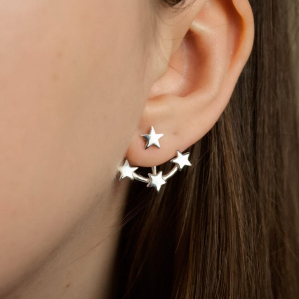 Cosmos Ear Jackets (Silver, Yellow/ Rose Gold Vermeil or Solid Gold) - Earrings The Serpents Club