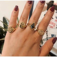 Load image into Gallery viewer, Ready To Ship ✦ Rose Cut Hematite Kite Shield Signet Ring - Gold Brass US 8 / U.K. Q - Ring The Serpents Club
