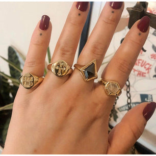 Ready To Ship ✦ Rose Cut Hematite Kite Shield Signet Ring - Gold Brass US 8 / U.K. Q - Ring The Serpents Club