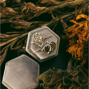 Ceremonial Ring Box - 'Dove Grey' Velvet - Gift Box The Serpents Club