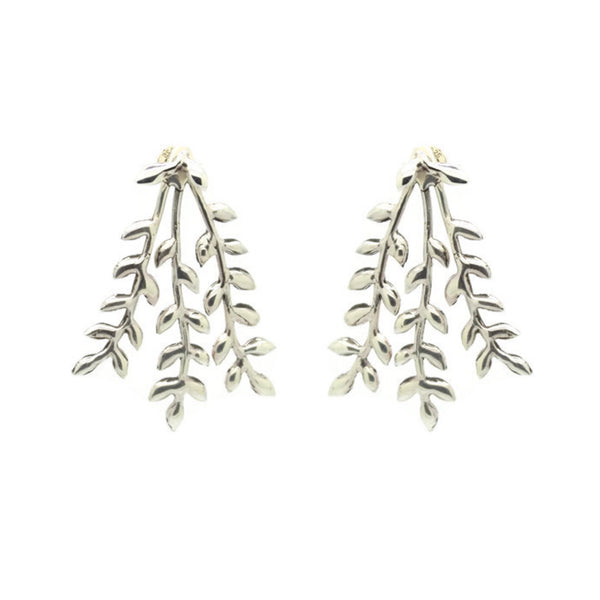 'Sequoia' Statement Branch and Leaf Ear Jackets (Brass, Silver, Yellow/Rose/White Solid Gold or Vermeil) - Earrings The Serpents Club