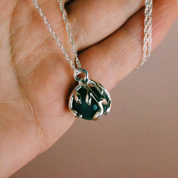 Ready To Ship ✦ Zeme IIl - Green Agate - Silver - Necklace The Serpents Club