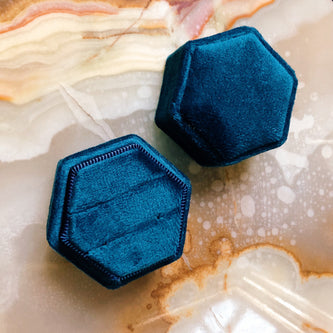Ceremonial Ring Box - 'Something Blue' Velvet - Gift Box The Serpents Club