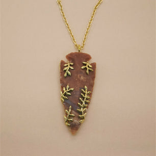 Ready To Ship ✦  'Alder' Large Red Agate Arrowhead and Vine Necklace (Brass) - Necklace The Serpents Club