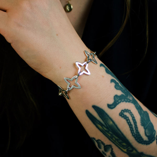 Heavy Medieval Starburst Chain Link Charm Bracelet (Silver or Yellow/Rose Gold Vermeil) - Bracelet The Serpents Club
