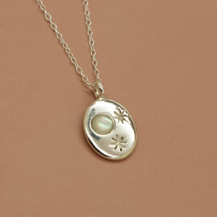 'Nyx' Pearl Moon and Engraved Stars Coin Necklace (Silver or Yellow/White/Rose Gold Vermeil or Solid Gold) - Necklace The Serpents Club