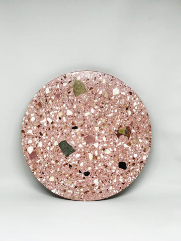Round Terrazo Tray in Pink
