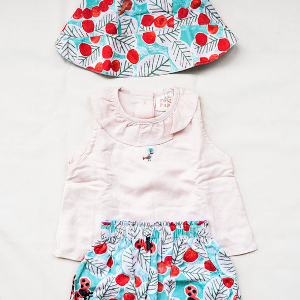 Peach Top, Ladybug Bloomer and Ladybug Bonnet Set