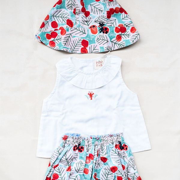 White Top, Ladybug Bloomer and Ladybug Bonnet Set